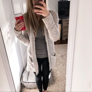 🖤Light Gray Open Knit Cardigan with Pockets